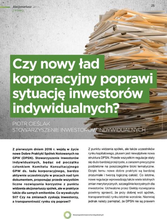 Czy nowy ład korporacyjny poprawi sytuację inwestorów indywidualnych? | Piotr Cieślak, Stowarzyszenie Inwestorów Indywidualnych